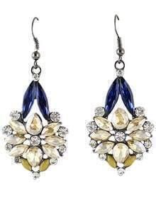 Yellow Blue Gemstone Dangle Earrings