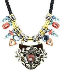 Gold Geometric Gemstone Necklace