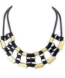 Gold Black Metal Necklace
