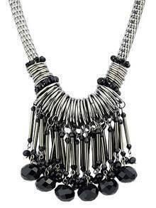 Silver Gemstone Tassel Necklace