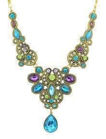 Gold Drop Gemstone Necklace