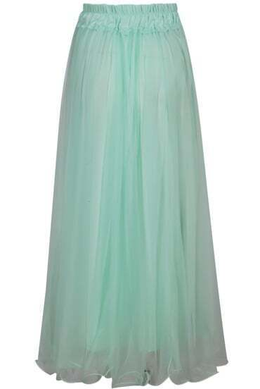 Pale Green Elastic Waist Pleated Skirt