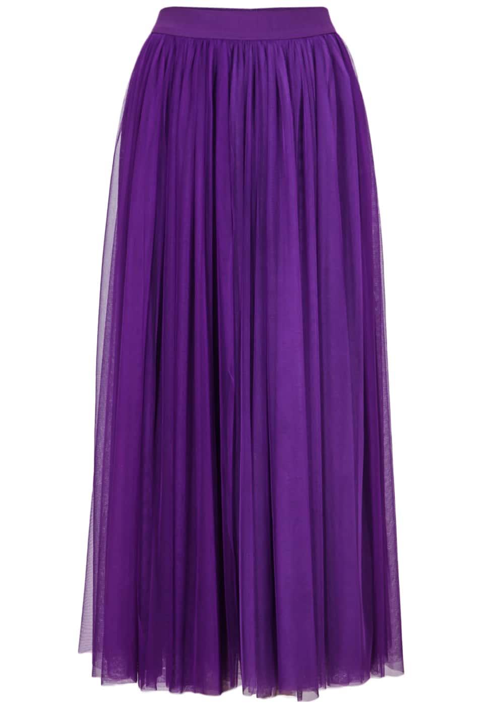 purple elastic waist pleated skirt shein sheinside