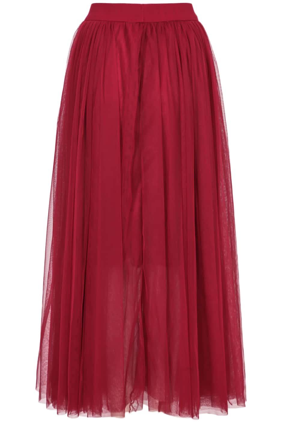 maroon elastic waist pleated skirt shein sheinside