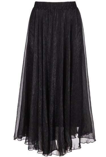 black elastic waist chiffon pleated skirt shein sheinside