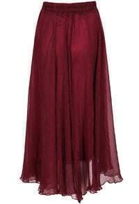 Wine Red Elastic Waist Chiffon Pleated Skirt