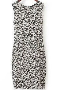 Black Sleeveless Leopard Straight Dress