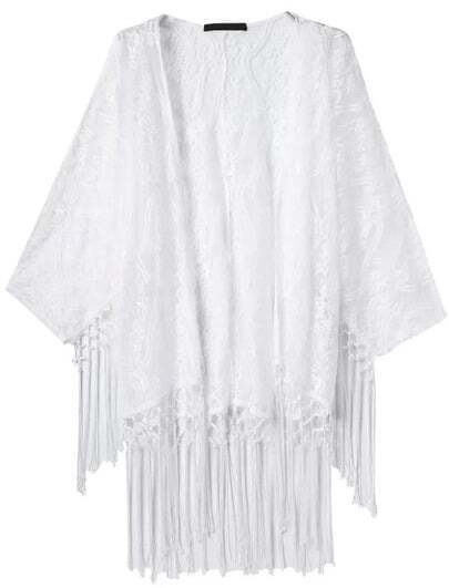 White Embroidered Tassel Lace Kimono