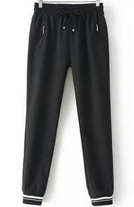 Black Elastic Waist Loose Pant