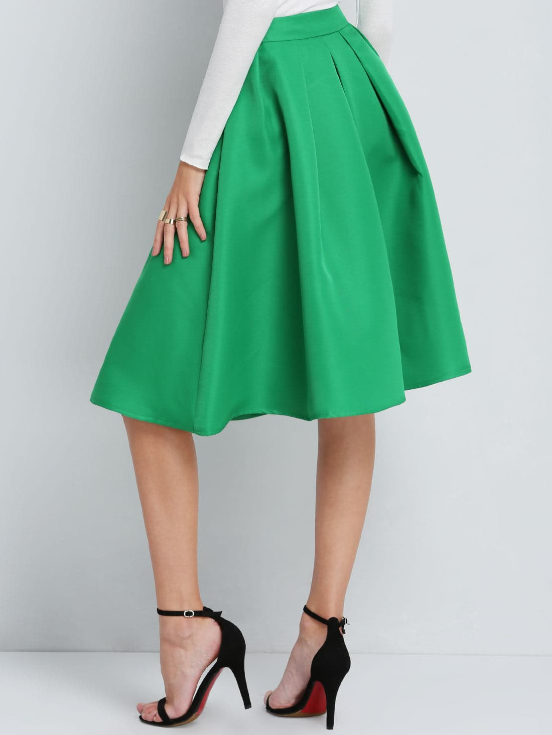 green flare pleated midi skirt shein sheinside