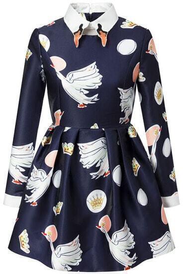 Navy Long Sleeve Imperial Crown Swan Print Dress