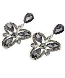 Black Gemstone Flower Earrings