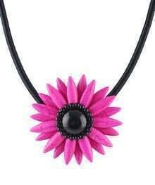 Red Gemstone Flower Necklace