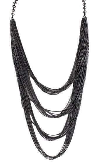 Fashion Jewelry Bold Design Multi-Layers Waterfall Black Tassel Necklace