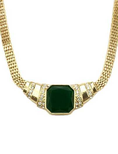 Green Gemstone Gold Crystal Chain Necklace