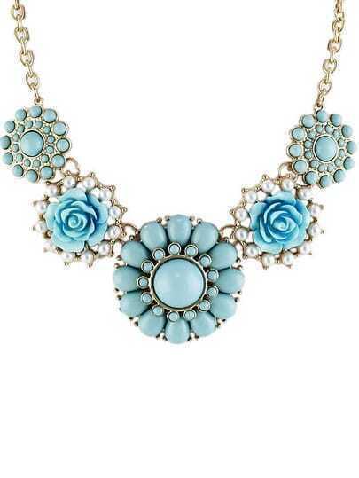 Blue Gemstone Gold Flower Necklace