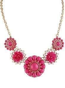 Rose Red Gemstone Gold Flower Necklace