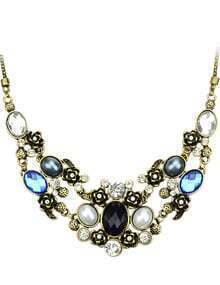 Blue Gemstone Flowers Necklace