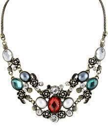 Green Gemstone Flowers Necklace