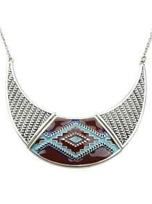 Retro Silver Geometric Pattern Collar Necklace