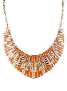 Orange Shining Bib Collar Necklace