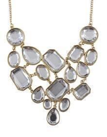 White Gemstone Gold Splice Necklace