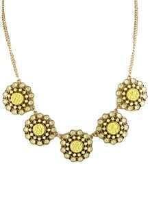 Beige Gemstone Gold Chain Flowers Necklace