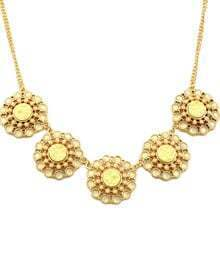 Yellow Gemstone Gold Chain Flowers Necklace