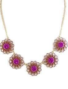 Purple Gemstone Gold Chain Flowers Necklace