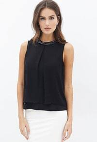 Black Sleeveless Bead Chiffon Tank Top