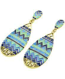 Blue Glaze Gold Drop Earrings
