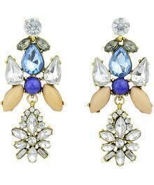 White Blue Gemstone Gold Earrings