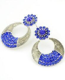 Blue Diamond Silver Circle Earrings
