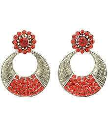 Red Diamond Silver Circle Earrings