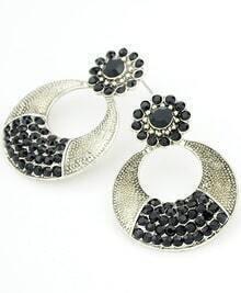 Black Diamond Silver Circle Earrings