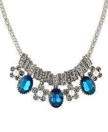 Blue Diamond Silver Flower Necklace