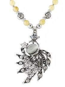 Silver Diamond Bead Necklace