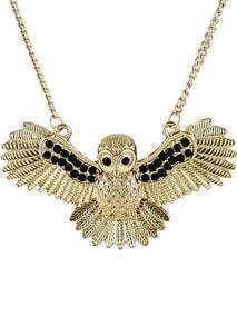 Black Crystal Gold Owl Chain Necklace