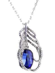 Blue Gemstone Silver Crystal Chain Necklace