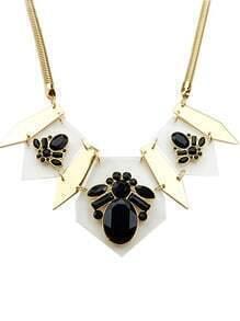 Black Gemstone Gold Geometric Necklace