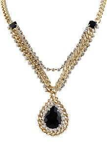 Black Drop Gemstone Crystal Gold Chain Necklace