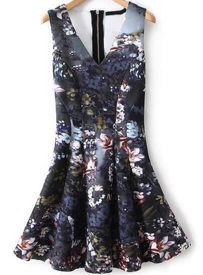 Grey V Neck Sleeveless Floral Pleated Dress