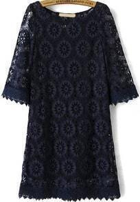 Navy Half Sleeve Loose Lace Dress
