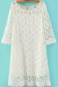 Beige Half Sleeve Loose Lace Dress