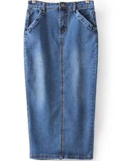 Синяя джинсовая юбка с разрезом