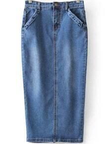 Blue Pockets Bleached Split Denim Skirt