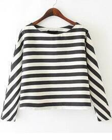 Black White Long Sleeve Striped Crop Blouse