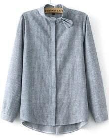 Grey Bow Collar Vertical Stripe Blouse
