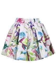 White Elastic Waist Floral Flare Skirt