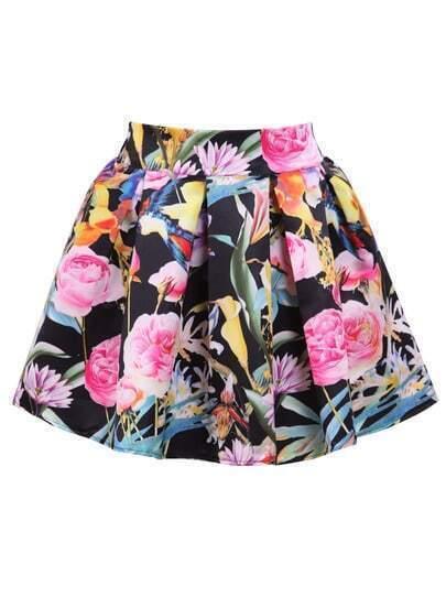 Black Elastic Waist Floral Flare Skirt